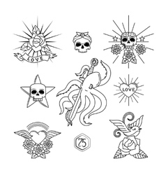 Tattoo line elements vector