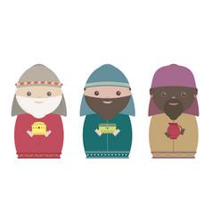 Three wisemen cartoons icon epiphany day holy vector