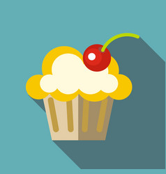valentine cupcake icon flat style vector image