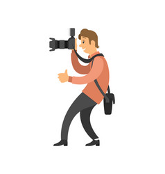 videographer recording video taking photo camera vector image