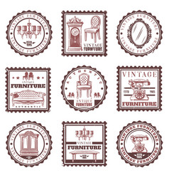 Vintage furniture stamps set vector