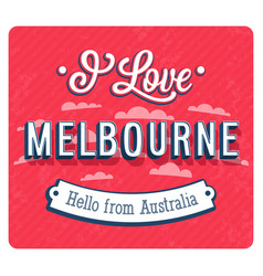 vintage greeting card from melbourne vector image