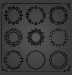 vintage set of round elements vector image