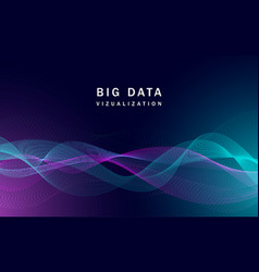 Visualization big data banner realistic style vector