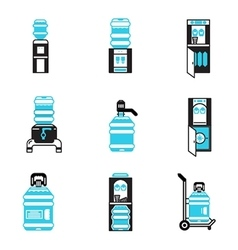 Water cooler items flat icons set vector