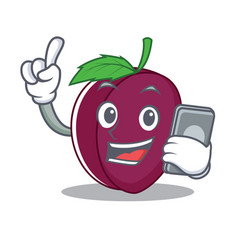 with phone plum character cartoon style vector image