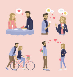woman and man on date happy couple together set vector image