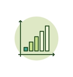 Business graph green icon vector image