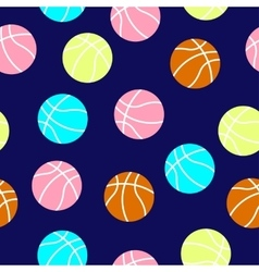 colorful basketball balls pattern vector image