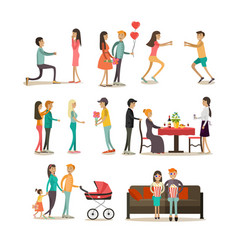 flat icons set of people in love vector image