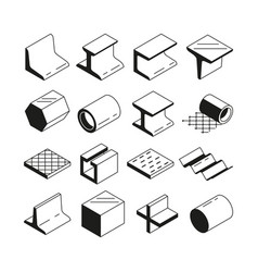 icons set in monochrome metallurgy production vector image