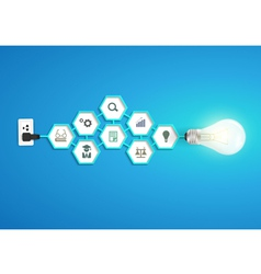 Light bulb idea with chemistry and science icon vector image