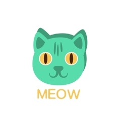 Meow And Cat Face Word And Corresponding vector image vector image
