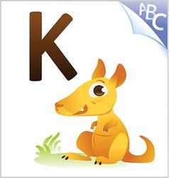 Animal alphabet for the kids K for the Kangaroo vector image