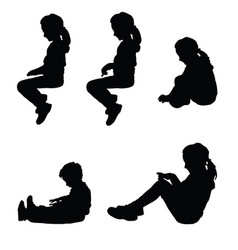children silhouette sitting happy set vector image vector image