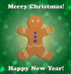 Gingerbread man New Year greeting card vector image