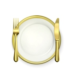 Gold dinner place setting vector image vector image