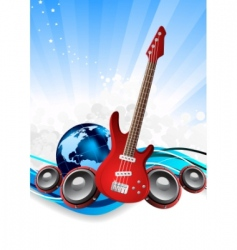 guitar and earth vector image vector image
