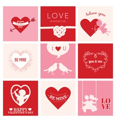 Set of Love Cards for Valentines Day vector image vector image