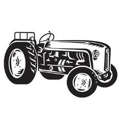vintage tractor vector image vector image