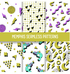 abstract trendy memphis seamless patterns set vector image vector image