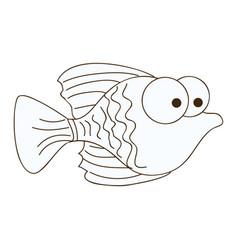 figure happy fish cartoon icon vector image vector image
