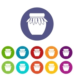 Jam in glass jar set icons vector image vector image