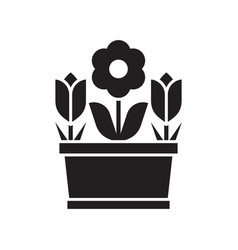 spring flower pot icon vector image