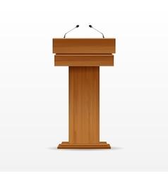 Wood Podium Tribune Rostrum Stand with Microphone vector image