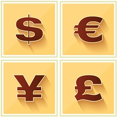 World Currency Symbols Flat Icon Retro vector image vector image