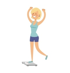 Beautiful slim girl on scales fitness healthy body vector