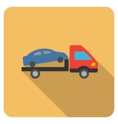 Car Evacuation Flat Rounded Square Icon with Long vector image