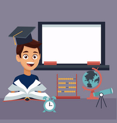 color background with chalk board and boy student vector image