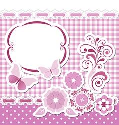 Floral scrapbook pink set vector image