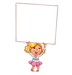 girl raised a large advertising poster vector image vector image
