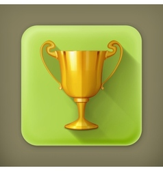 Gold trophy flat icon vector image vector image