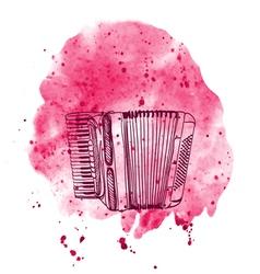 hand drawn accordion on watercolor splash vector image vector image