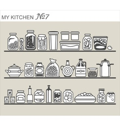 Kitchen utensils on shelves 7 vector image