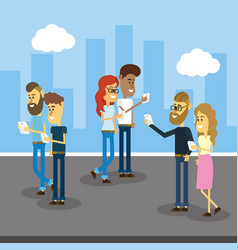 people with smartphone and social connection vector image vector image
