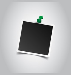 Photo frame with pin on gray background for your vector