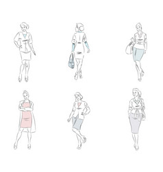 six fashionable businesswoman vector image