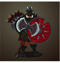 warrior goblin big green angry orc with weapons vector image vector image
