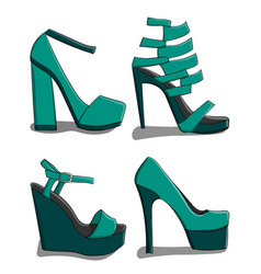 A set of summer female shoes with high heels in vector