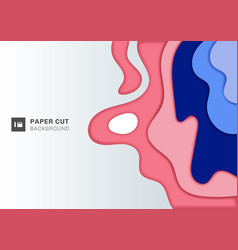 abstract 3d wave layer pink and blue paper cut vector image