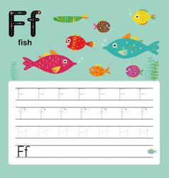 alphabet f worksheet learning english vocabulary vector image