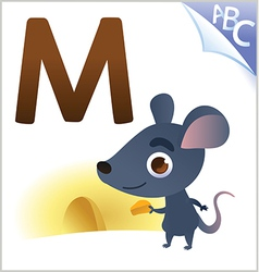 Animal alphabet for kids m for mouse vector