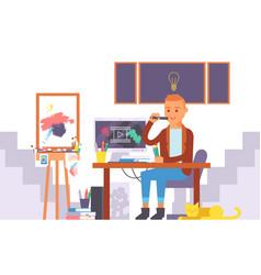 artist working in studio vector image