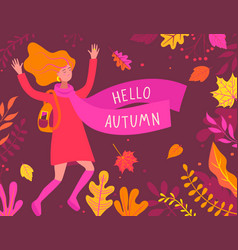 Autumn banner with happy girl vector