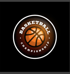 basketball league logo with ball orange color vector image