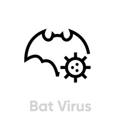bat virus editable line icon vector image
